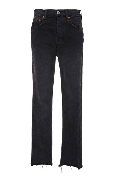 Re/done Double Needle High-Rise Straight-Leg Jeans Size: 25 in black