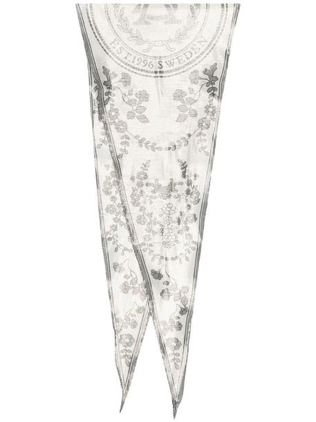 Acne Studios floral print logo scarf in neutrals