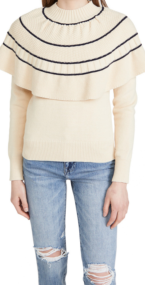 Rebecca Taylor Textural Stitch Capelet Sweater in navy / natural