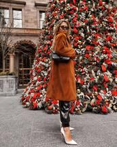 coat,brown coat,long coat,white shoes,pumps,black pants,black bag,black sunglasses,winter outfits