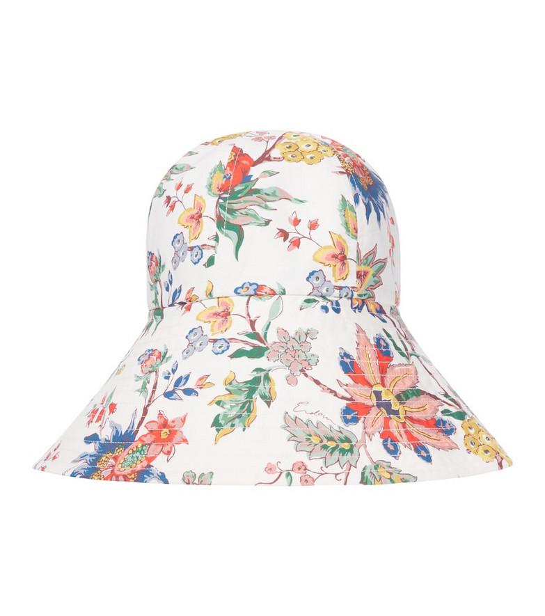 Erdem Vacation floral cotton poplin bucket hat in white