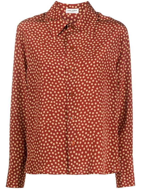 Saint Laurent polka dot print blouse in red