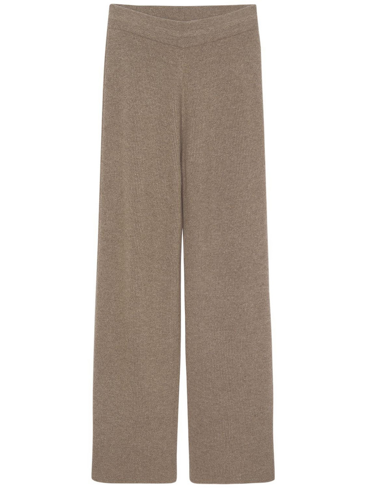 THE FRANKIE SHOP Rib Knit Lounge Pants in taupe