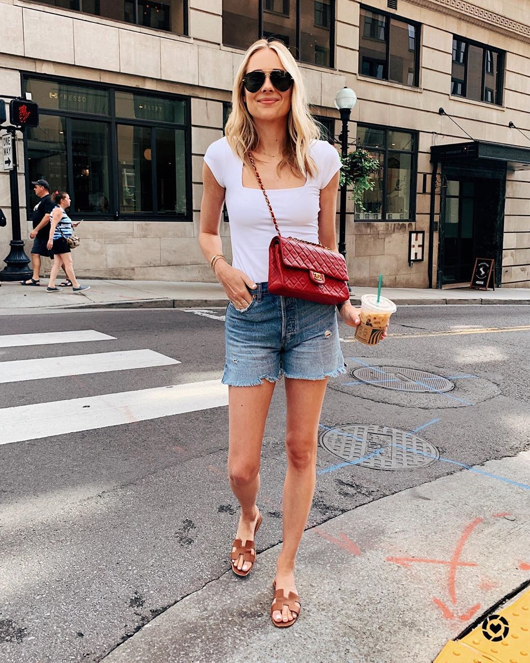 underwear bodysuit denim shorts slide shoes red bag