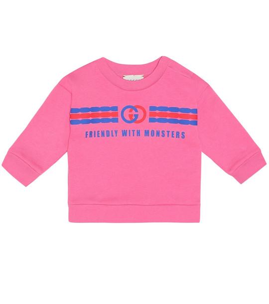 Gucci Kids Baby logo cotton sweatshirt in pink