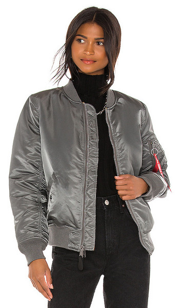 ALPHA INDUSTRIES MA-1 Flight Jacket in Grey in orange