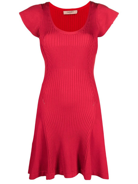 Twin-Set short-sleeved ribbed short dress in red