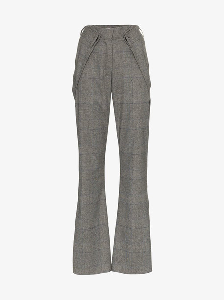 Delada high waist check print flared trousers