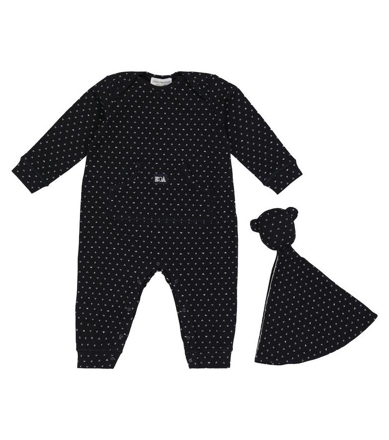 Emporio Armani Kids Baby cotton onesie and hat set in black
