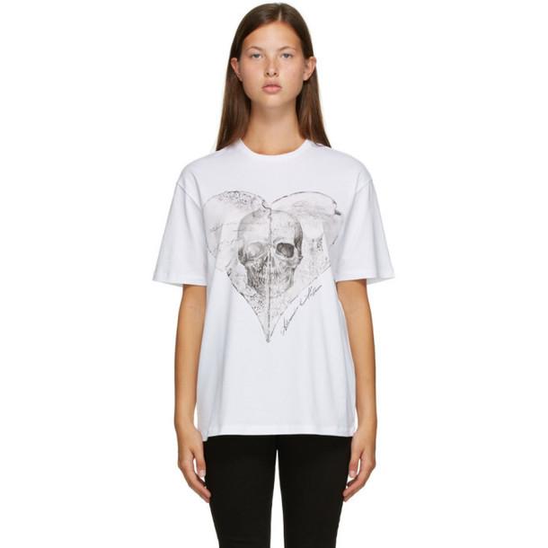 Alexander McQueen White Love Notes Skull T-Shirt