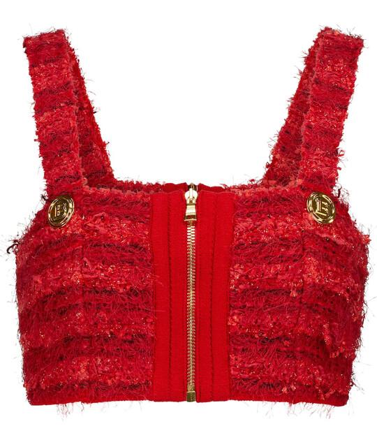 Balmain Tweed crop top in red