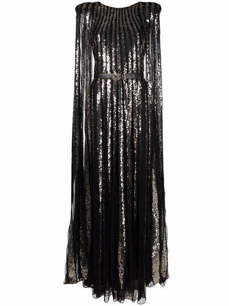 Elie Saab sequined cape dress - Black