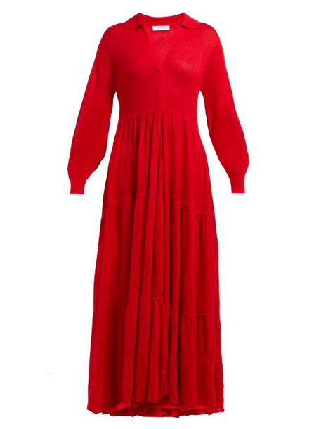 Ryan Roche - V Neck Cashmere Maxi Dress - Womens - Red