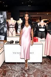 dress,midi dress,victoria's secret,victoria's secret model,jasmine tookes,model,silk dress,slip dress,satin dress