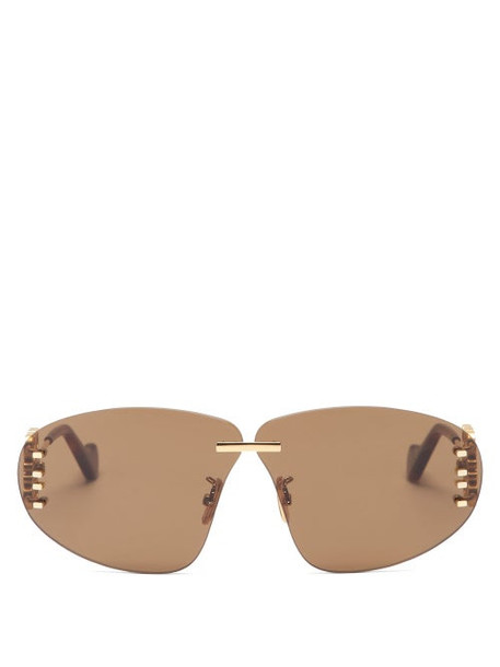 Loewe - Anagram-hinge Rimless Metal Sunglasses - Womens - Brown