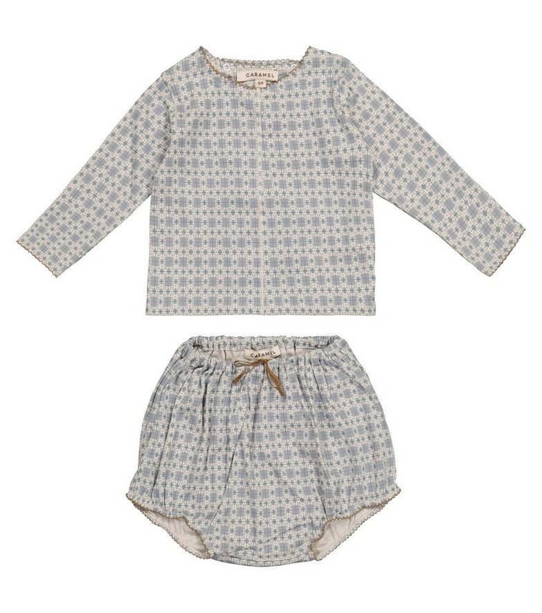Caramel Baby Dottback top and bloomers set in blue
