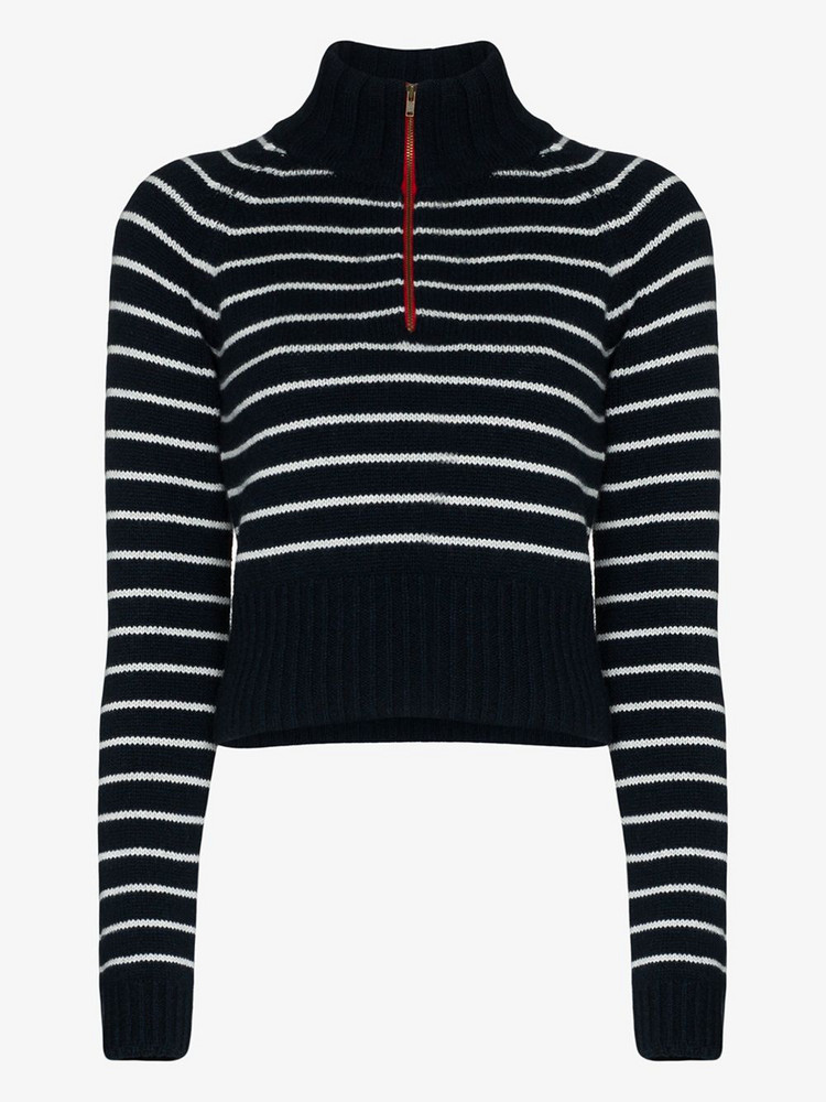 By Any Other Name striped zip neck cashmere sweater in blue