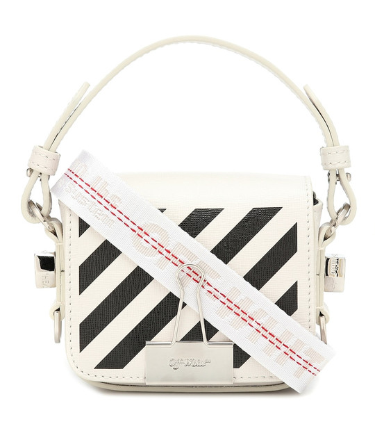 Off-White Binder Clip Mini leather shoulder bag in white