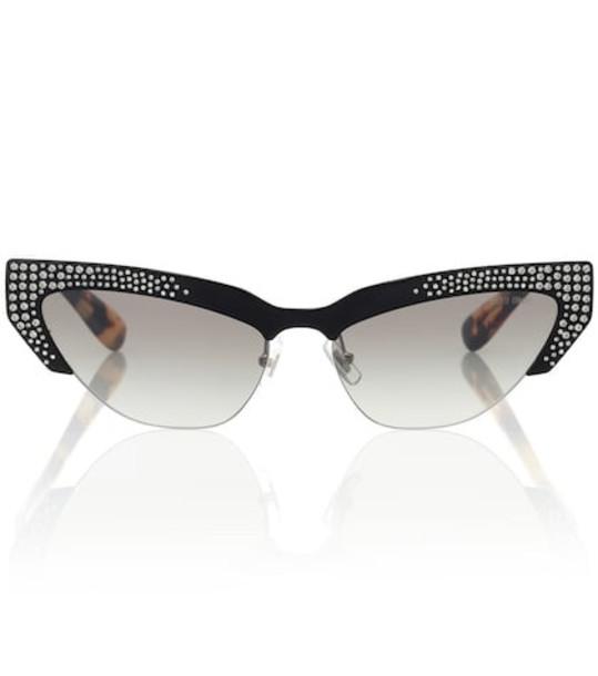 Miu Miu Embellished cat-eye sunglasses in black
