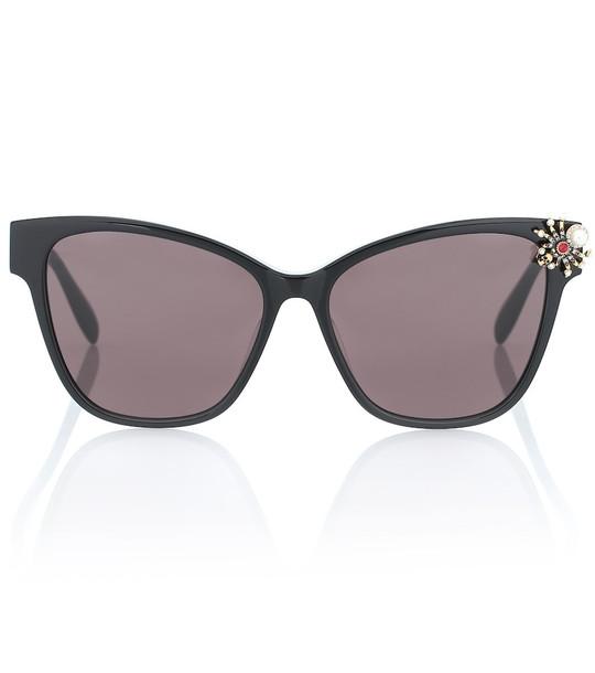Alexander McQueen Spider embellished cat-eye sunglasses in black