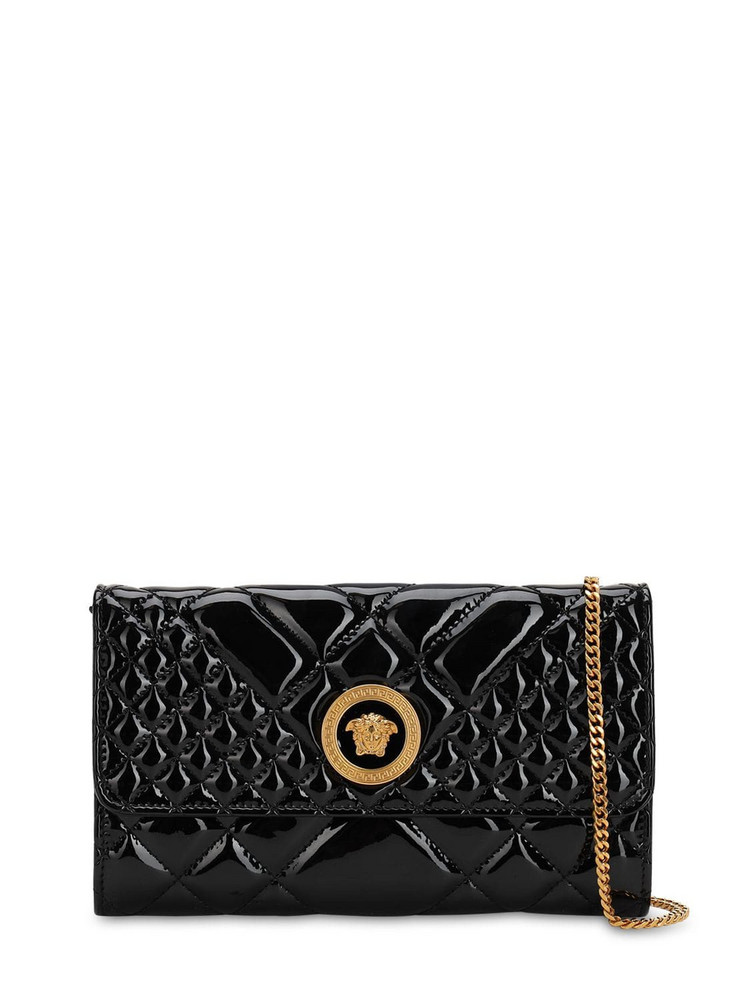 VERSACE Icon Quilted Patent Leather Shoulder Bag in black