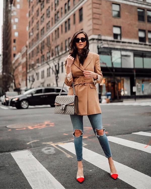 jacket blazer pumps ripped jeans skinny jeans gucci bag
