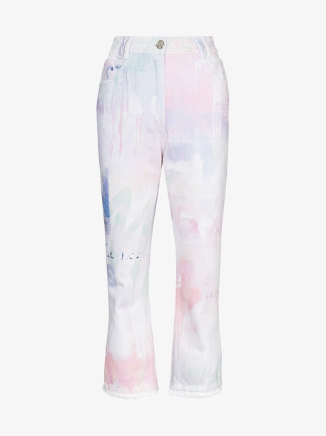 Balmain Spray paint cropped jeans in pink