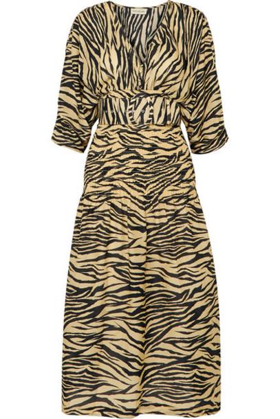 Nicholas - Belted Smocked Zebra-print Cotton And Silk-blend Midi Dress - Neutral