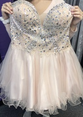 dress,blush short prom dress