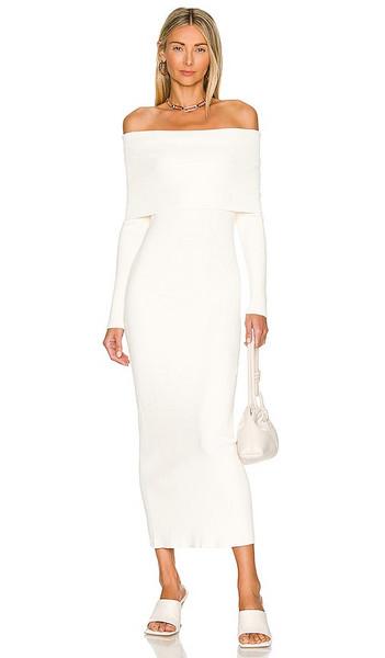 Autumn Cashmere Rib Dress with Cuff Neckline in Ivory in cream