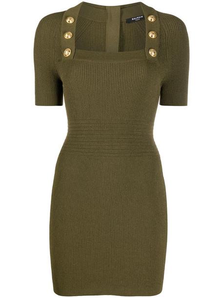 Balmain button-detail knit dress in green