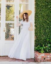 dress,maxi dress,white dress,short sleeve dress,handbag,hat