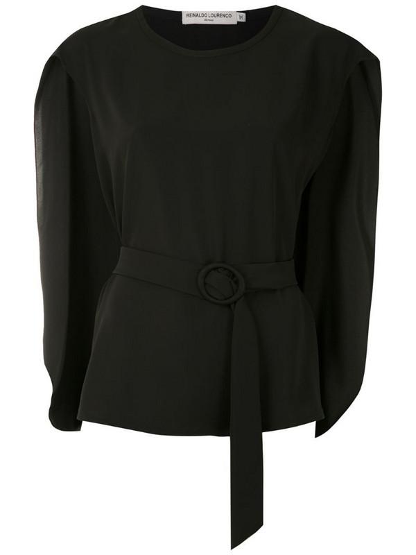 Reinaldo Lourenço cape-style belted blouse in black