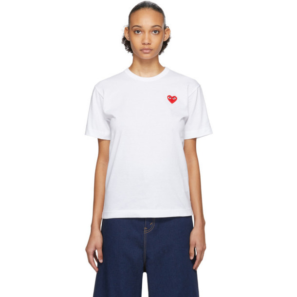Comme des Garcons Play White and Red Mens Fit Heart Patch T-Shirt