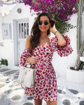 dress,mini dress,floral dress,off the shoulder dress,zara,white bag,chanel bag