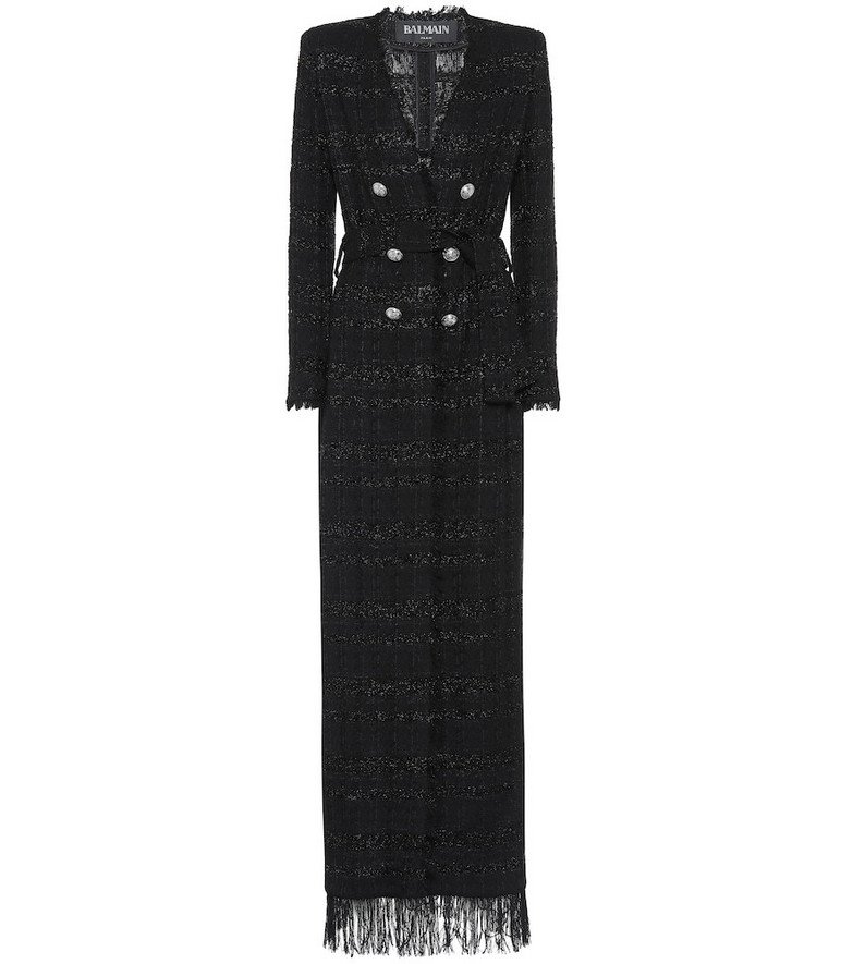 Balmain Metallic tweed gown in black