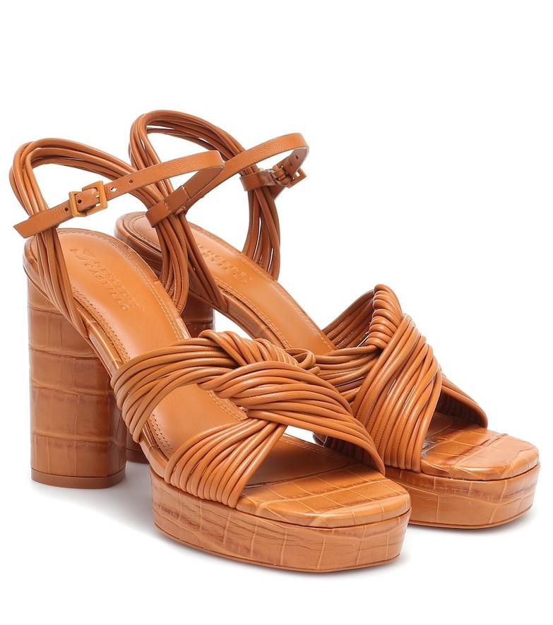 Mercedes Castillo Calisse leather platform sandals in brown