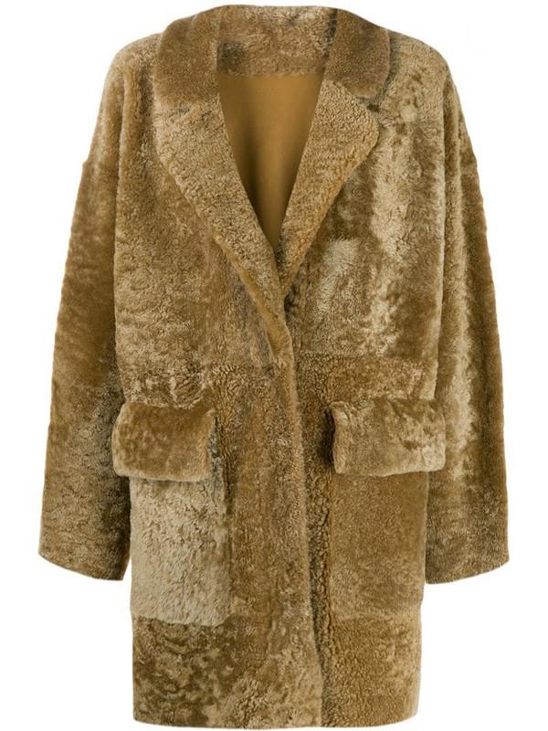 Drome textured shearling coat in brown