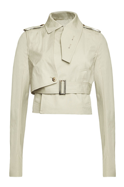 Rick Owens Stretch Cotton Short Trench Coat  in beige