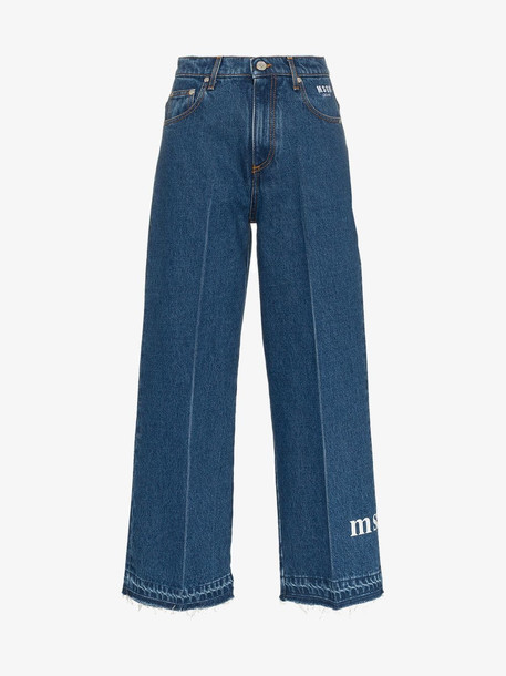 MSGM Cropped Logo Jeans in blue