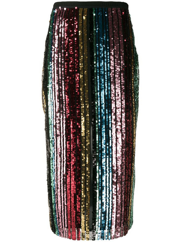 Antonio Marras sequin striped mid-length skirt in black
