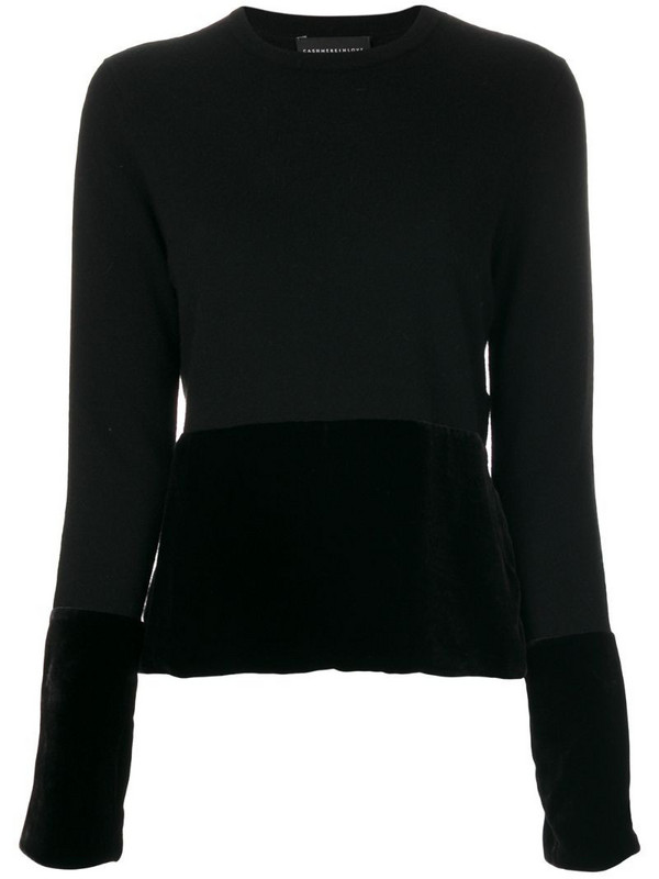 Cashmere In Love cashmere velvet panel jumper in black