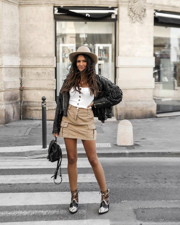 skirt mini skirt high waisted skirt white blouse ankle boots black leather jacket black backpack