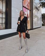 dress,mini dress,double breasted,knee high boots,sequins,handbag,black bag