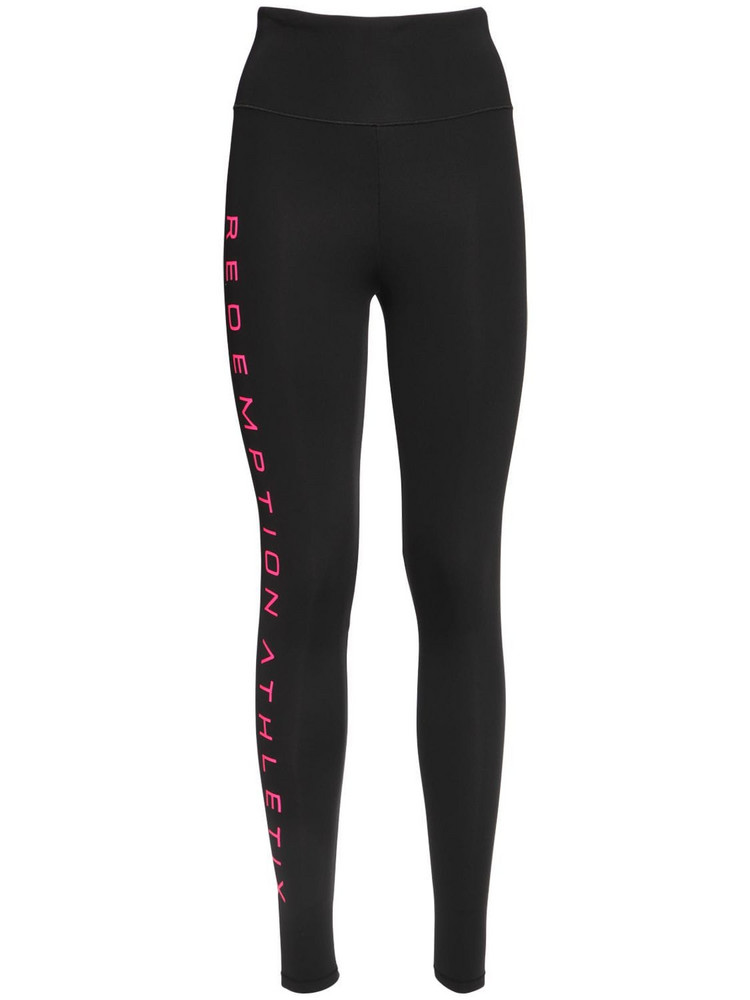 REDEMPTION Nylon Leggings W/ Side Logo in black