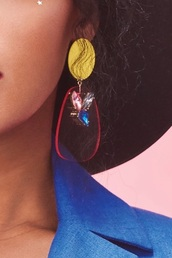 jewels,yellow earrings,yellow and red earrings,janelle monáe earrings