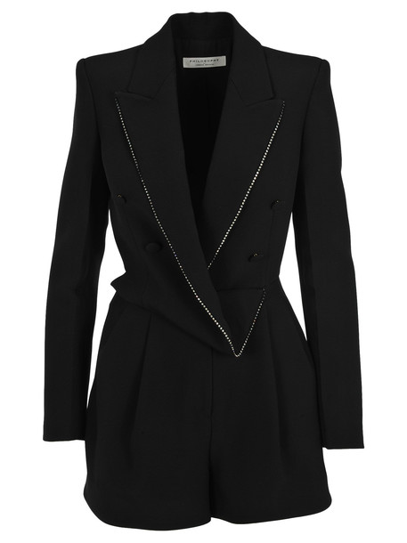 Philosophy di Lorenzo Serafini Philosophy Draped Blazer Playsuit in black