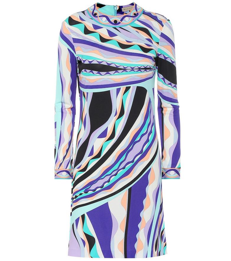 Emilio Pucci Printed silk-blend dress in purple