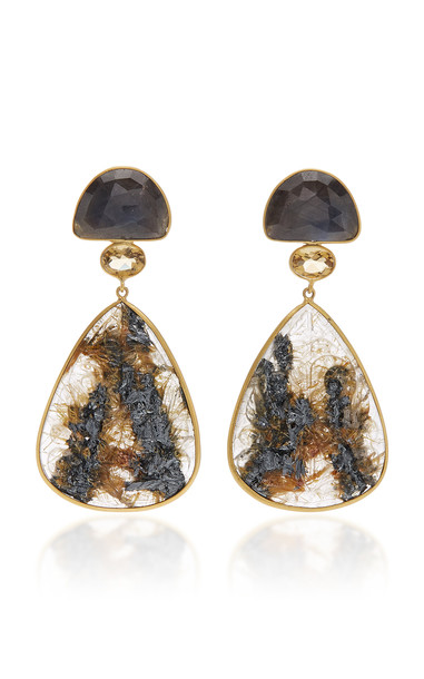 Bahina One of a Kind Sapphire Citrine and Rutilated Quartz Earrings in brown