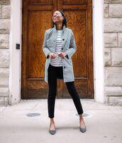 top,striped top,pumps,black jeans,black skinny jeans,plaid,coat
